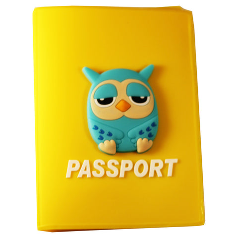 Blue  Owl PVC Thick Passport Cover/ Holder