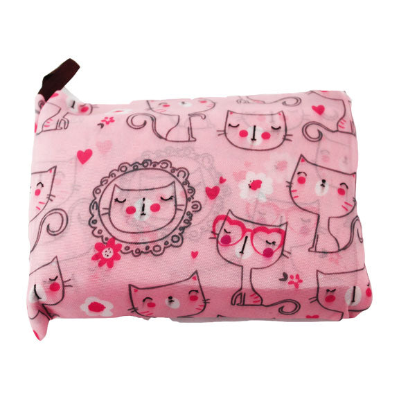 Foldable Large Size Shopping Bag - Cat Print Pink
