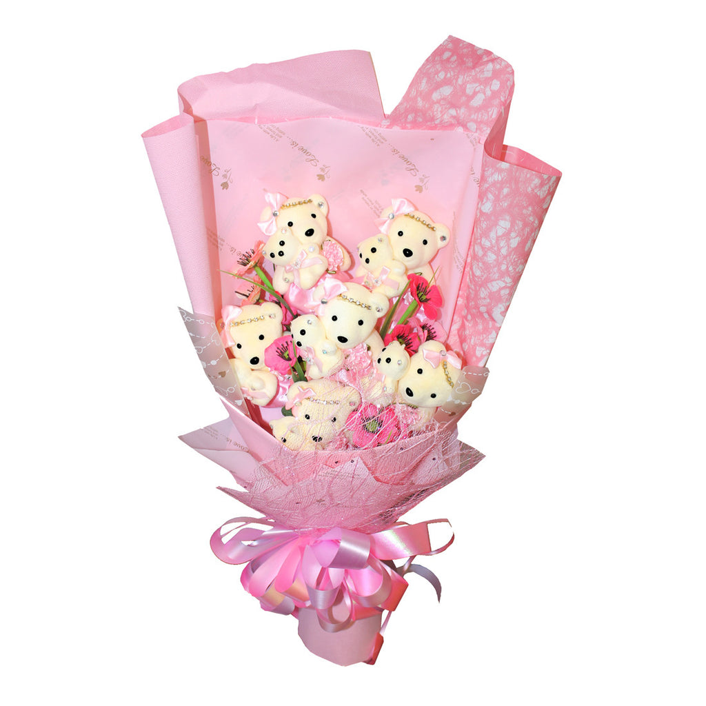 6 Mom & Daughter Hard Foam Pink Bear Bouquet (Comes in box of 12 - $16.00)