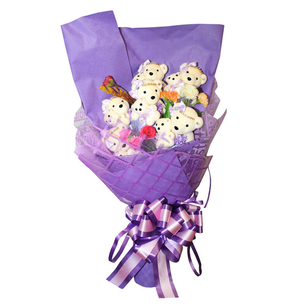 6 Mom & Daughter Hard Foam Purple Bear Bouquet (Comes in box of 12 - $16.00)