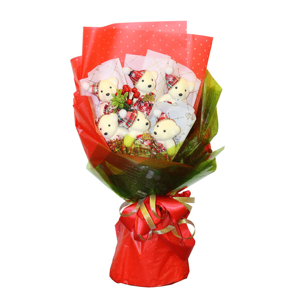 Special 6 Red Bear Bouquet Flowers with Rhinestones