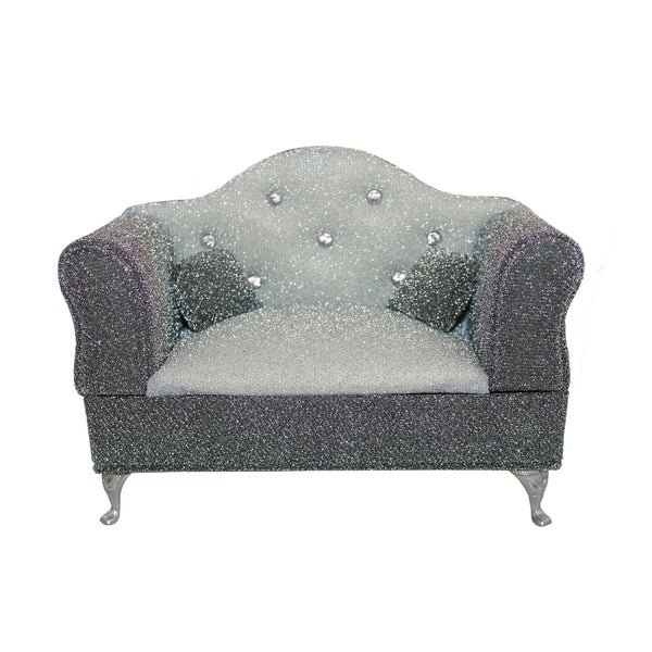 Gray Miniature Sofa Couch with Rhinestones Jewelry Box