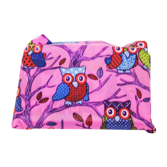 Foldable Large Size Shopping Bag - Owl Hot Pink