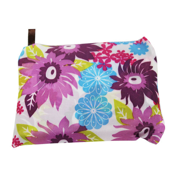Foldable Large Size Shopping Bag - Daisies Flower Purple