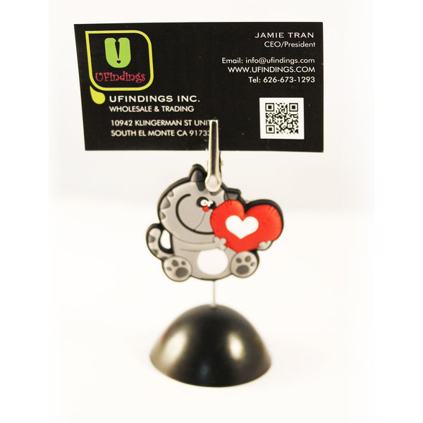 Similing Lovely Cat Photo / Memo / Name Card / Business Card Clip Hanger