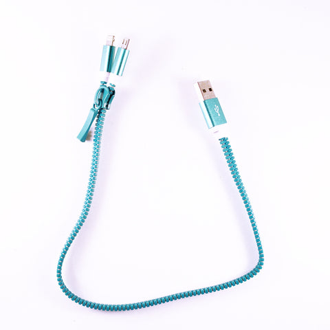 Blue Zipper USB Cable