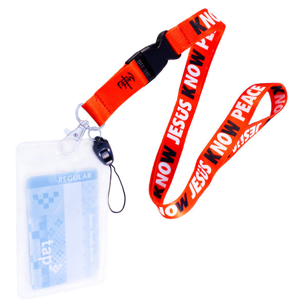 Know Jesus Know Peace Red Lanyard With Card Holder