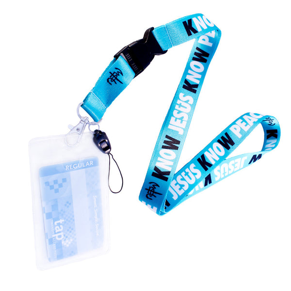 Know Jesus Know Peace Turquoise Lanyard w/ Card Holder