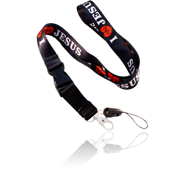 I Love Jesus Design Black Lanyard
