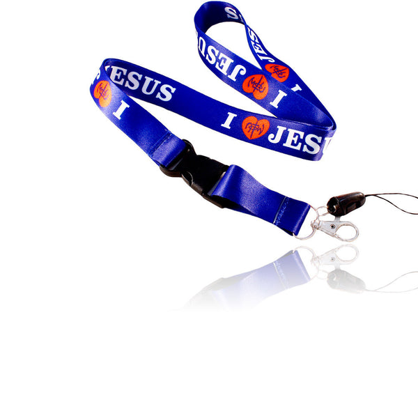 I Love Jesus Design Dark Blue Lanyard