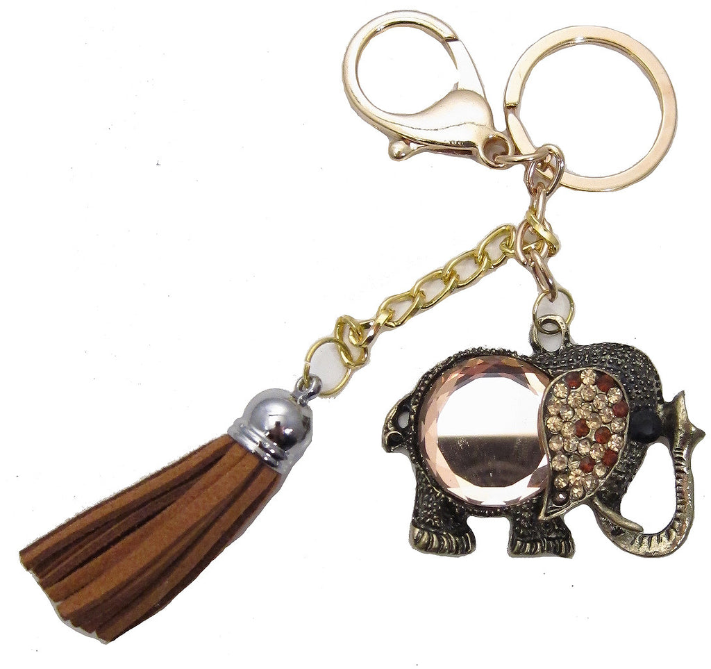 Elephant Black Brown Yellow Tassel Rhinestone Key Chain
