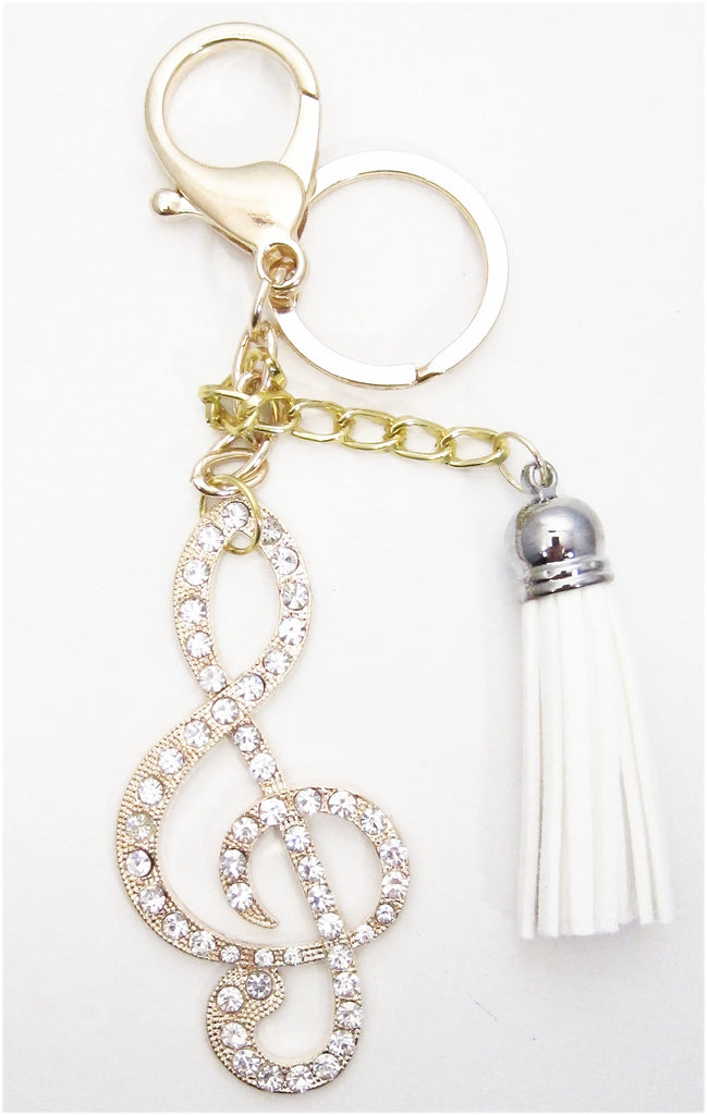 Treble Cleff White Tassel Rhinestone Key Chain