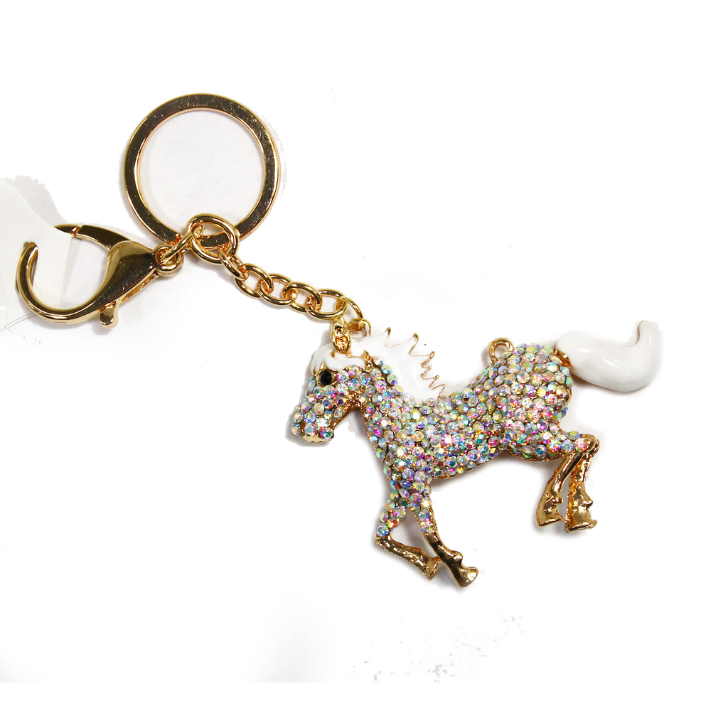 Horsey White Colored Rhinestone Key Chain