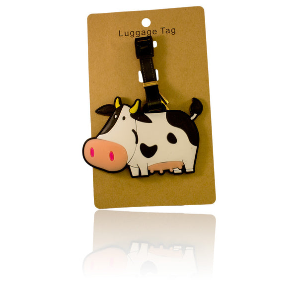 Cow Design White Luggage Tag (Comes in packs of 12 - $2.50 each)