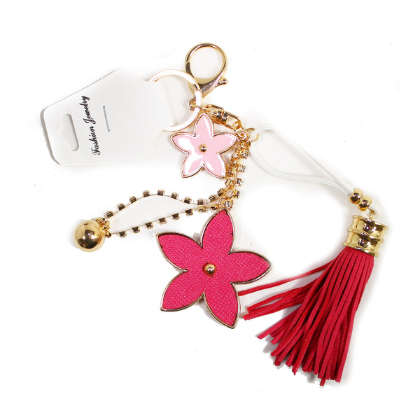 DIY Chained Hot Pink Flowers w/Tassel Design Rhinestone Keychain (Starting at $3.00 each)
