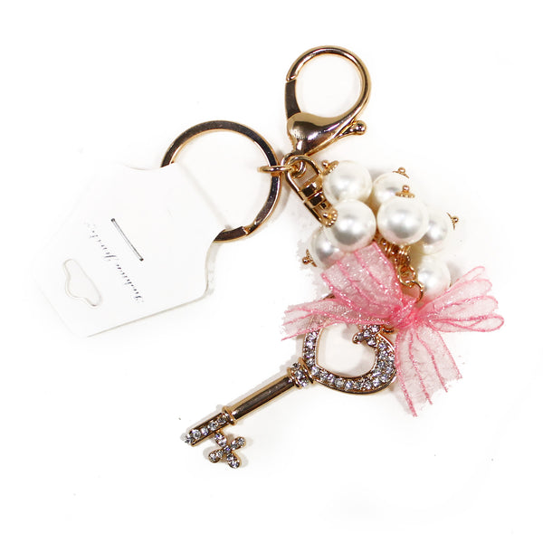 DIY Gold Key w/ Pearl and Pink Bow Design Rhinestone Keychain (Starting at $2.50 ea)