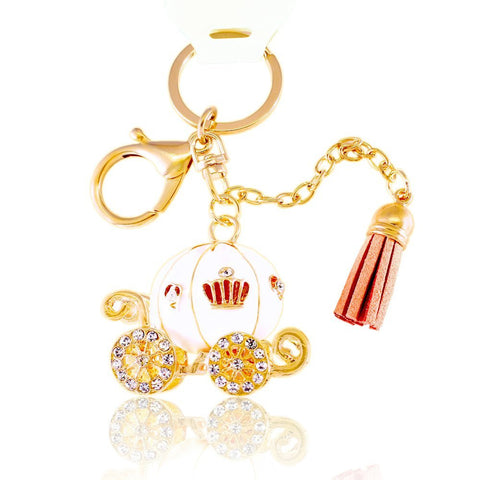 3D White Pumpkin Coach w/ Tassel Design Rhinestone Key chain