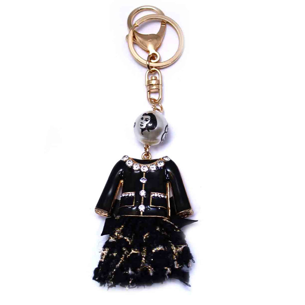 Elegant Black Dress Rhinestone Key Chain