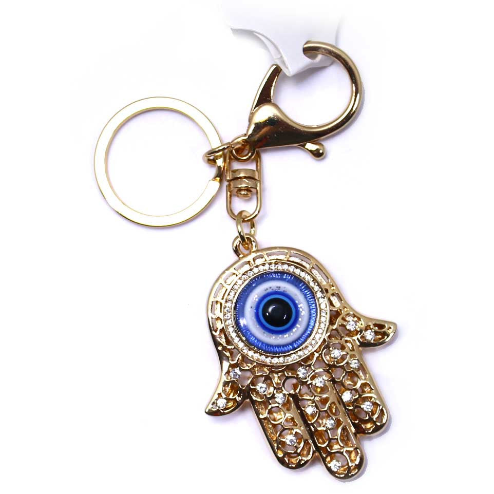 Hand Eye Gold Rhinestone Key Chain