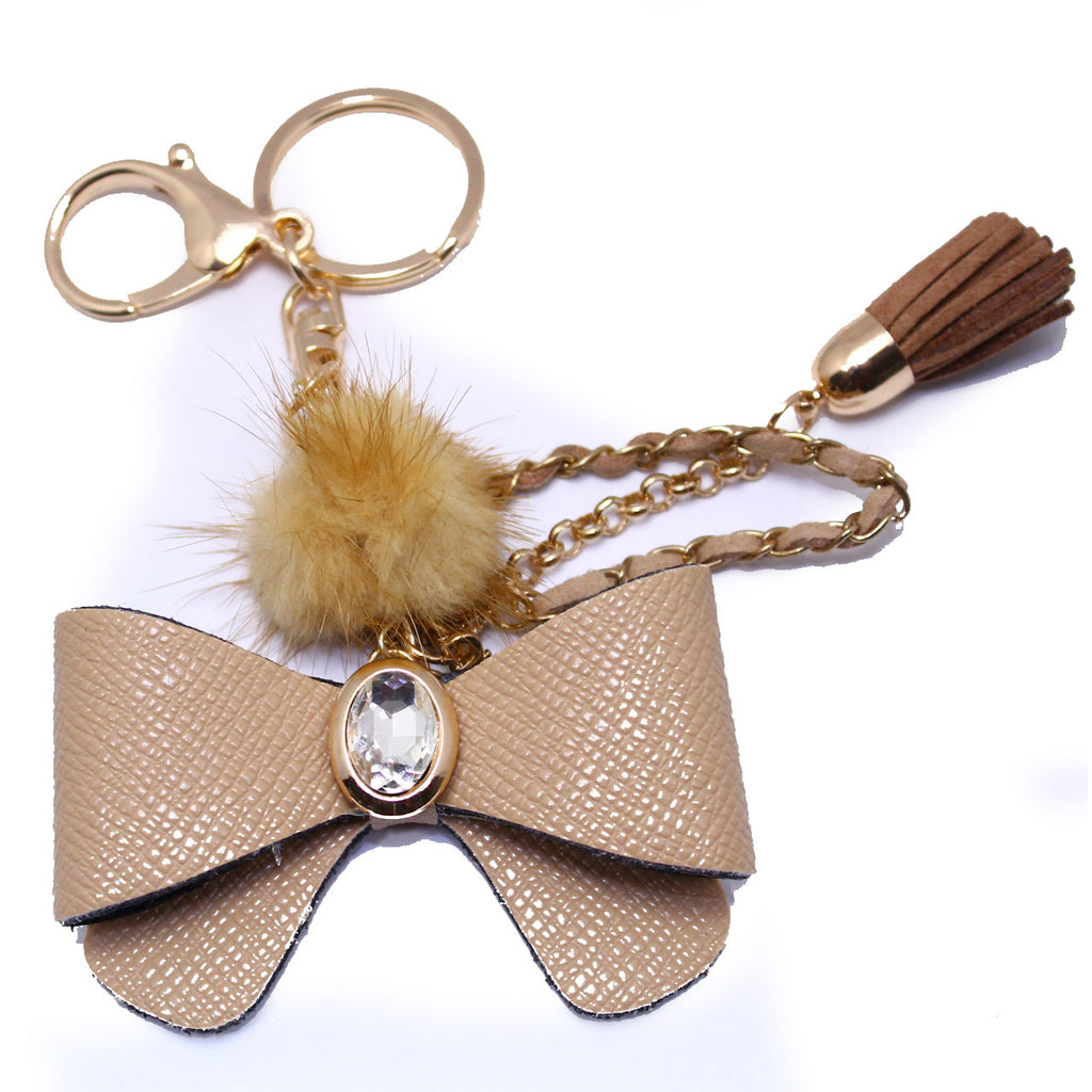 Brown Bow w/ Tassel Rhinestone Key Chain