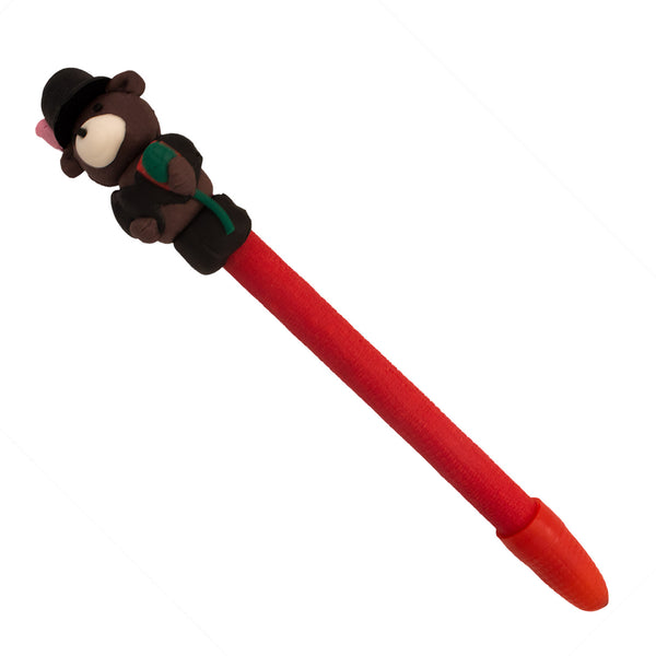 DIY Hand Made Brown Bear with Rose Design Polymer Pen