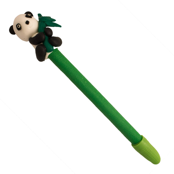 Hand Made Panda Holding Bamboo Polymer Clay Pen