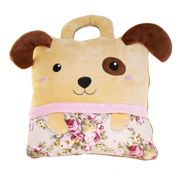 Brown Dog Love You Puppy Cushion 2-in1 Travel Pillow, Converts into Blanket