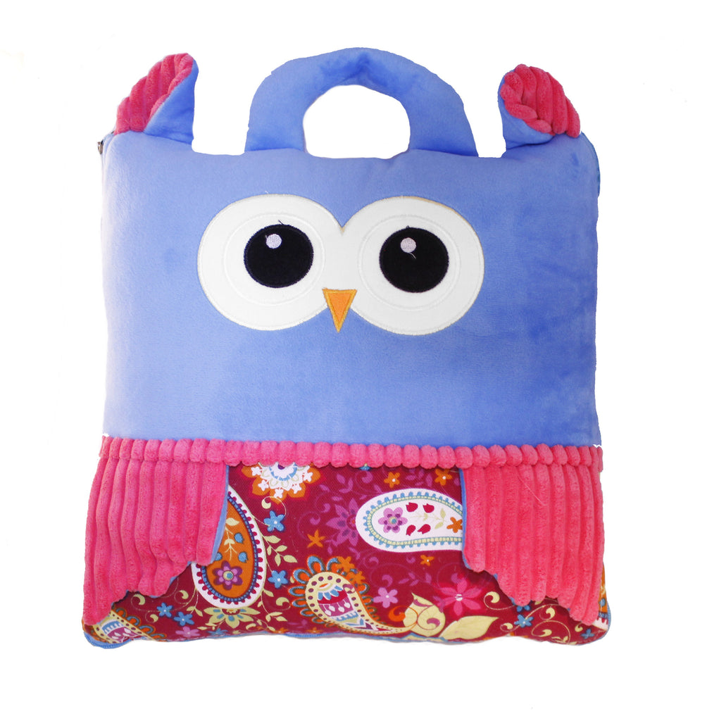 Blue Owl Cushion Seat 2-in-1 Travel Pillow, Converts into Blanket