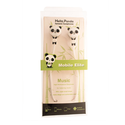 PVC High Quality Panda Bear Earphones