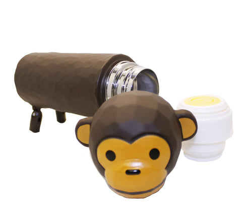 3D Monkey Tumbler Thermos Brown Water Bottle