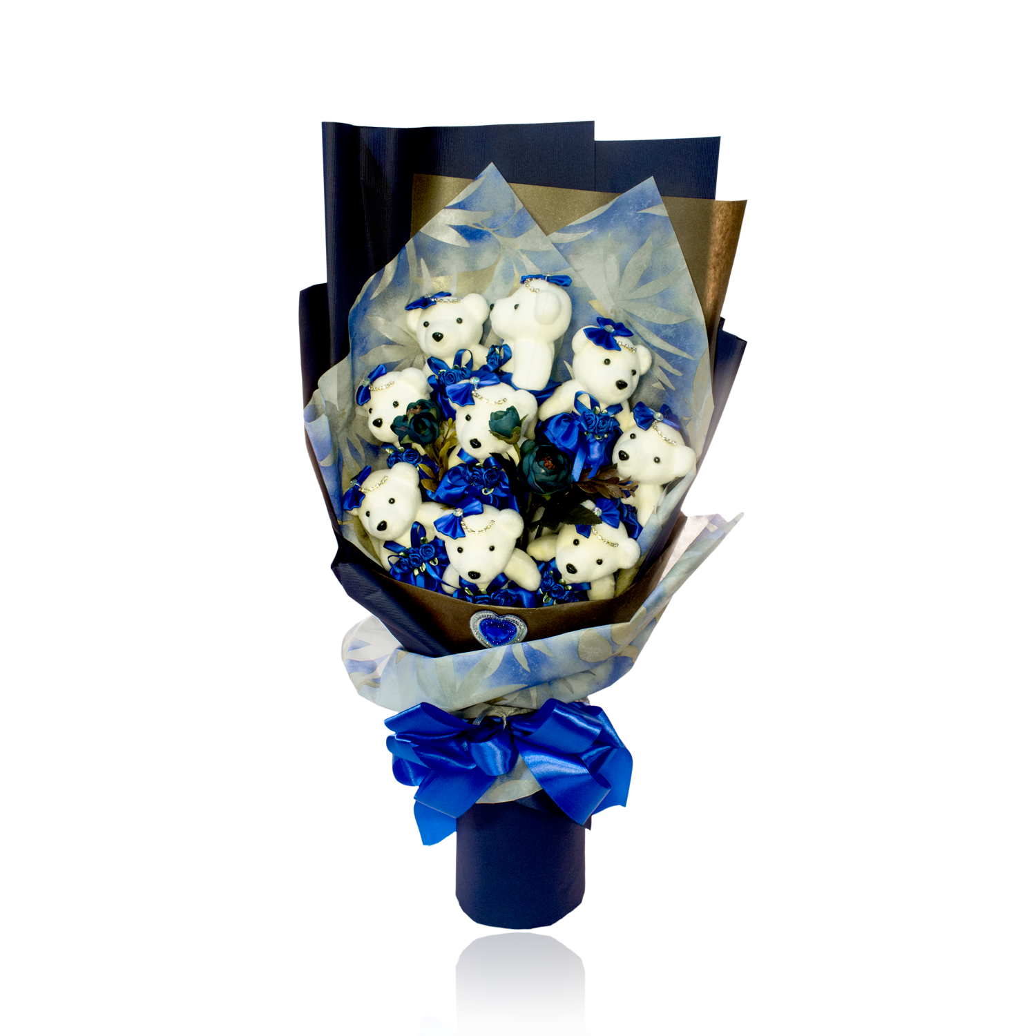 Special Occasion Bear Design Blue Theme Flower Bouquet Ufindings Inc