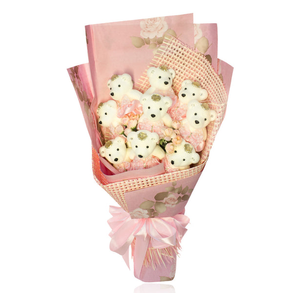 Special Occasion Bear Design Pink Theme Flower Bouquet