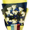 Special Occasion Bear Design Blue-White-Red Theme Flower Bouquet