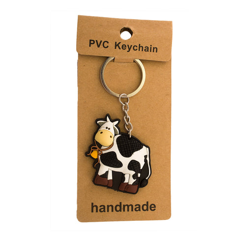 Black White Cow PVC Key Chain