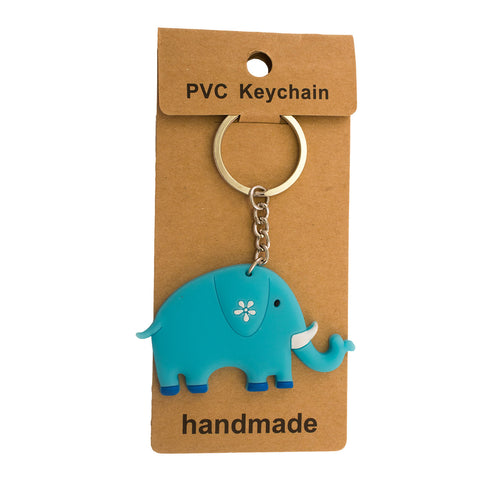 Blue Elephant PVC Key Chain