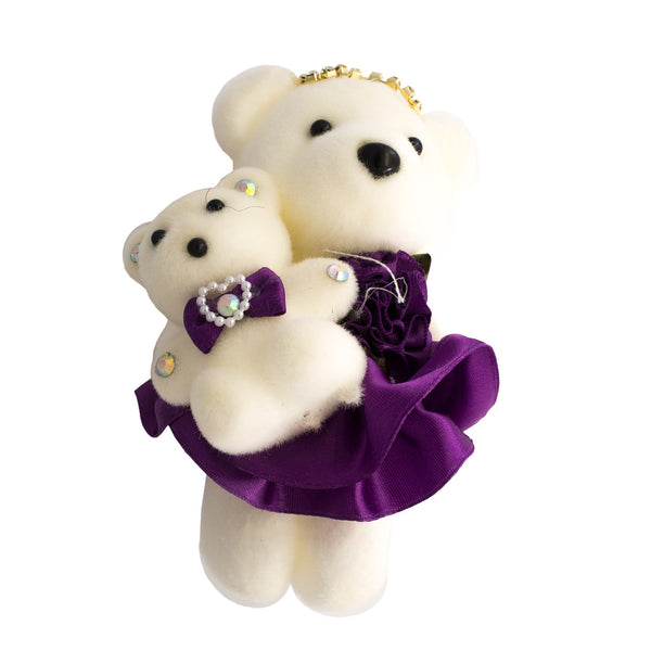 Purple Mom & Daughter Hard Foam Bears for Bouquets