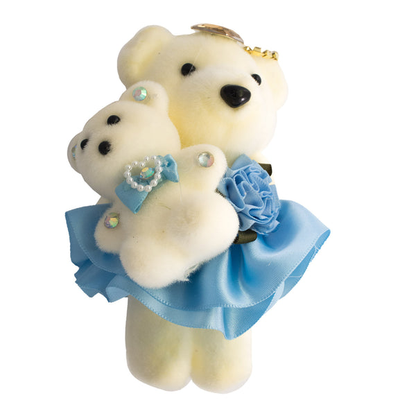 Light Baby Blue Mom & Daughter Hard Foam Bears for Bouquets