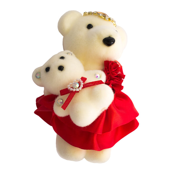 Red Mom & Daughter Hard Foam Bears for Bouquets
