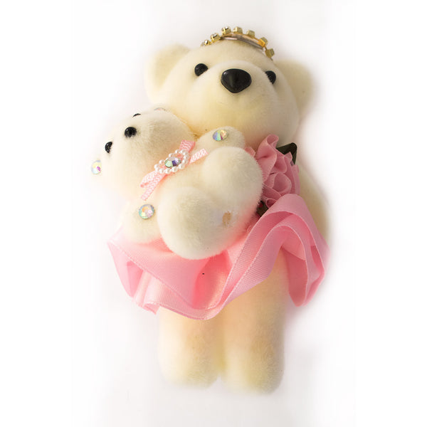 Pink Mom & Daughter Hard Foam Bears for Bouquets