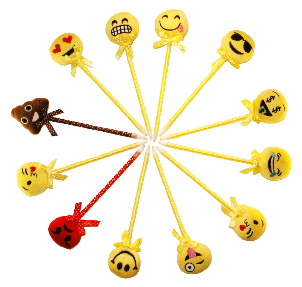 Assorted Emoji Pens Smiley Plush Pen Pack (12 Pieces)