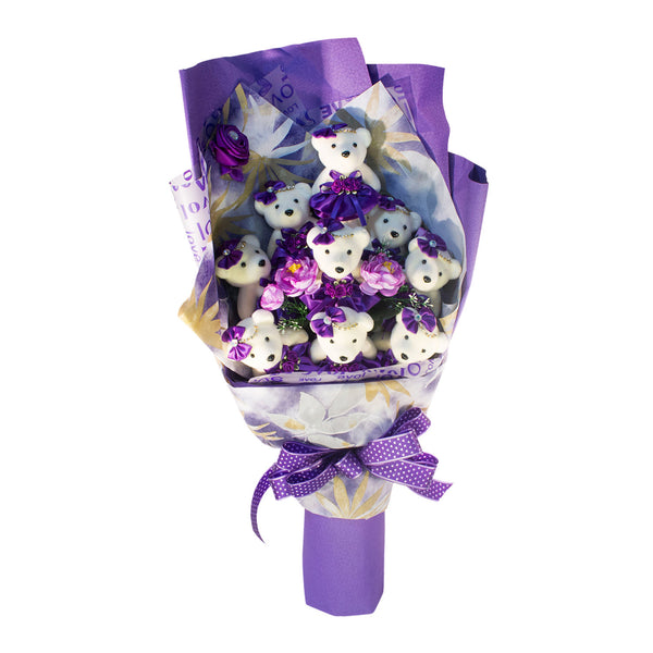 Special Occasion Bear Design Purple Theme Flower Bouquet