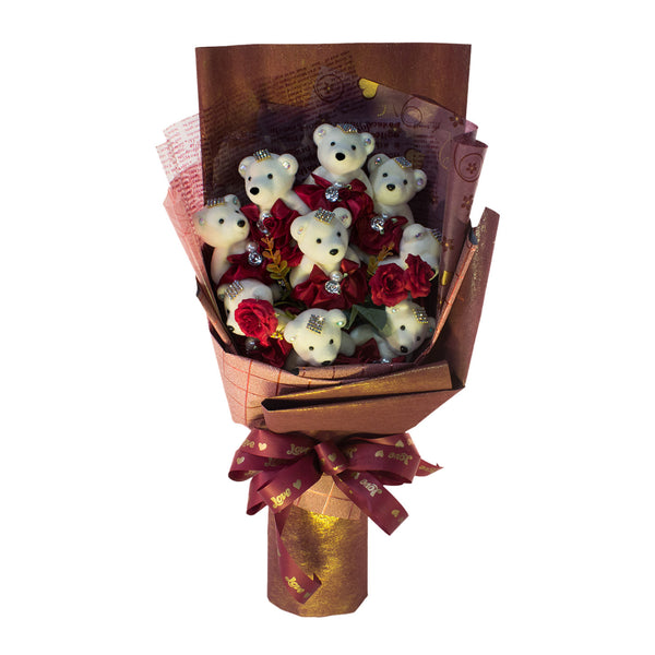 Special Occasion Bear Design Brown Theme Flower Bouquet