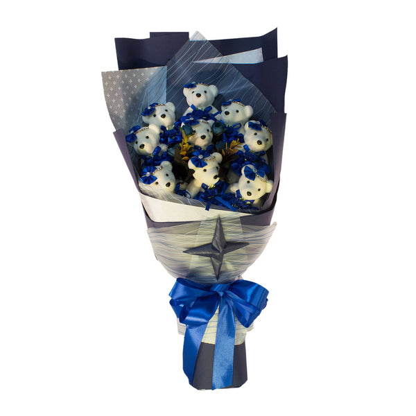 Special Occasion Bear Design Blue Theme Flower Bouquet