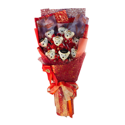Special Occasion Bear Design Red Theme Flower Bouquet