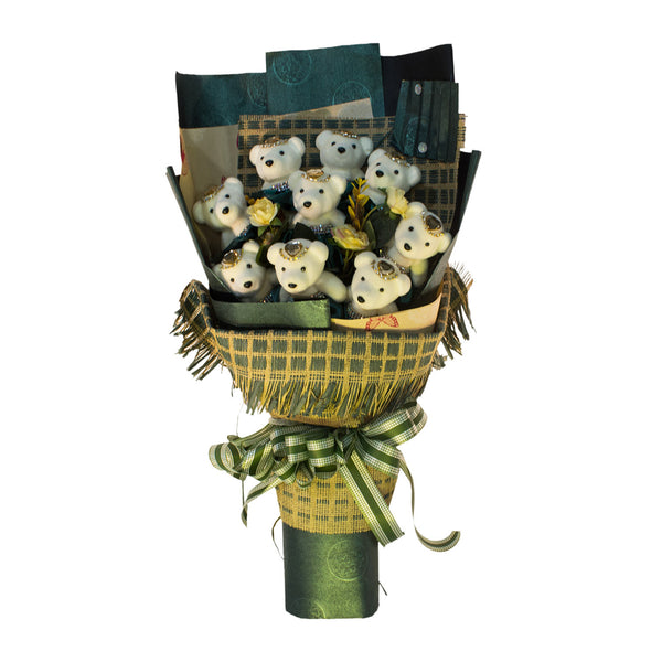 Special Occasion Bear Design Green Theme Flower Bouquet