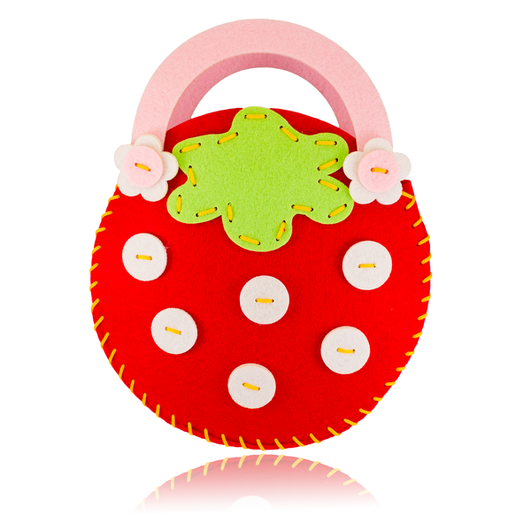 DIY Strawberry Design Pink Purse