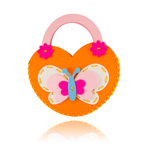 DIY Butterfly Design Orange Purse