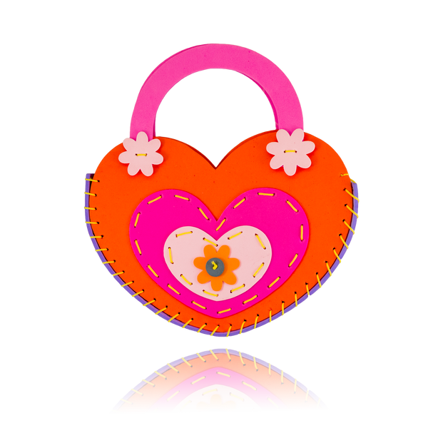DIY Heart Design Orange Purse