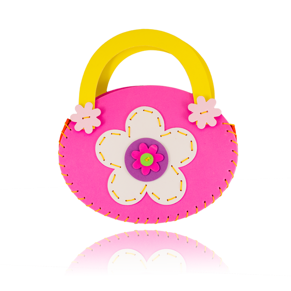 DIY Flower Design Pink Purse