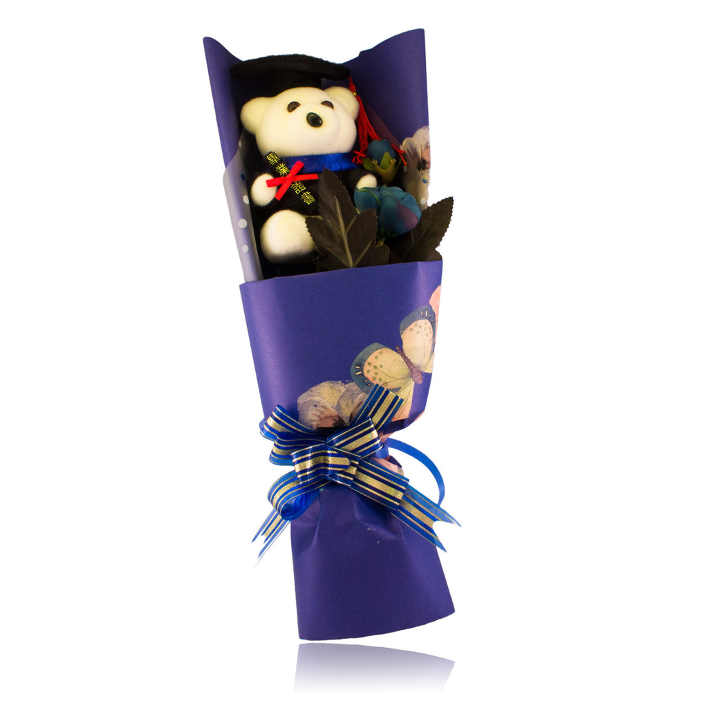 Special Graduation Bear Design Blue Theme Flower Bouquet